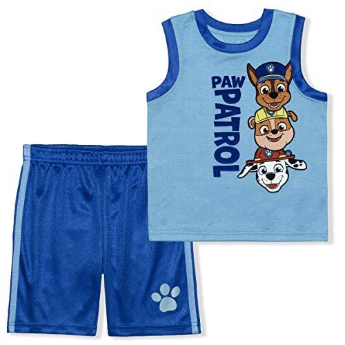 Nickelodeon Paw Patrol 2 Pack Boy's Sleeveless Tee Shirt and Shorts Set, Blue, Size 4T