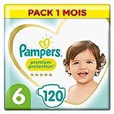 Pampers Couches Premium Protection Taille 6 (+13kg) notre N°1 pour la protection des peaux sensibles, 120 Couches (Pack 1 Mois)