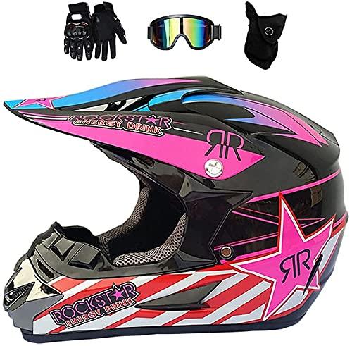 Casco motocross nero rosso, casco integrale donna moto, casco integrale mountain bike casco cross bambino casco moto bicicletta endurance downhill BMX fuoristrada ATV (S (54-55 cm))