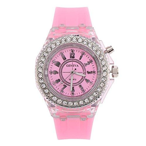 Sonew Reloj de Cuarzo de Las Mujeres LED luz Trasera Reloj de Pulsera Redondo Reloj de Pulsera de Silicona Rhinestone diseño Moda Reloj(Pink)