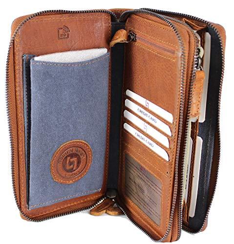 LANDLEDER Leder Jeans Denim Damen Handtasche Schultertasche Umhängetasche Shopper Rucksack präsentiert von RabamtaGO® (Große Geldbörse)