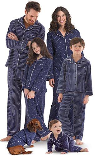 PajamaGram Family Pajamas Soft Cotton - Matching Pajamas, Navy, Women's, M, 8-10