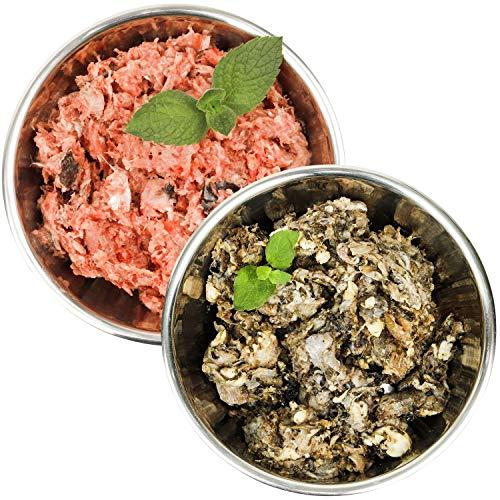 Barf-Snack naturbelassenes Rohfleisch - Sparpaket mit Fisch & Rinderpansen Gefrierfutter/Frostfutter für Hunde & Katzen