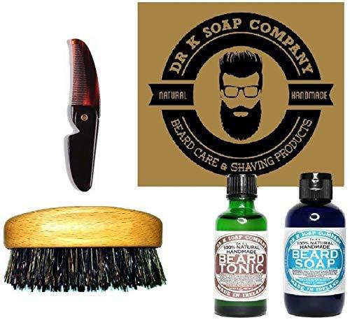 Dr. K Soap Company. Set Dandy Style per la cura della Barba. Comprende Sapone, Tonico, Spazzola per barba/baffi, Pettinino