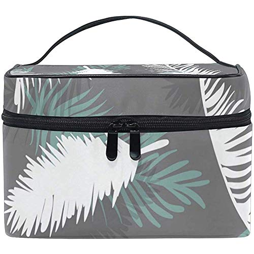 Grand Maquillage Train Case Tropical Leaf Grey Transportant Portable Zip Cosmetic Bag Makeup Bag Organizer