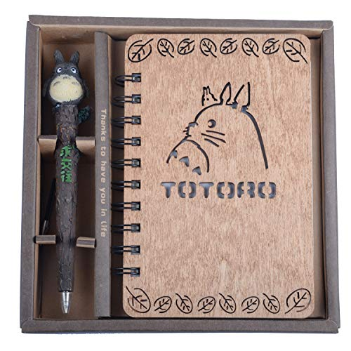 My Neighbor Totoro Wooden Cover Notebook with Cute Anime Pen Set Vintage, Journal, Diary, Sketchbook, Study Spiral, Hardcover Writing Notebook - Wonderful Creative Kids & Totoro's Fan Gift (Style 2)