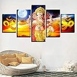 Impresiones sobre Lienzo Ganesha AUM In Fire Om 5 Cuadros En Lienzo Modernos Salón Decoracion Murales Pared Lona XXL Grande Hogar Dormitorios Arte Pared HD Impresión Foto