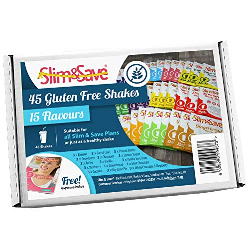 Slim & Save - 45 Gluten Free VLCD Diet Meal Replacement Shakes with 15 Different Flavours - High in Protein
