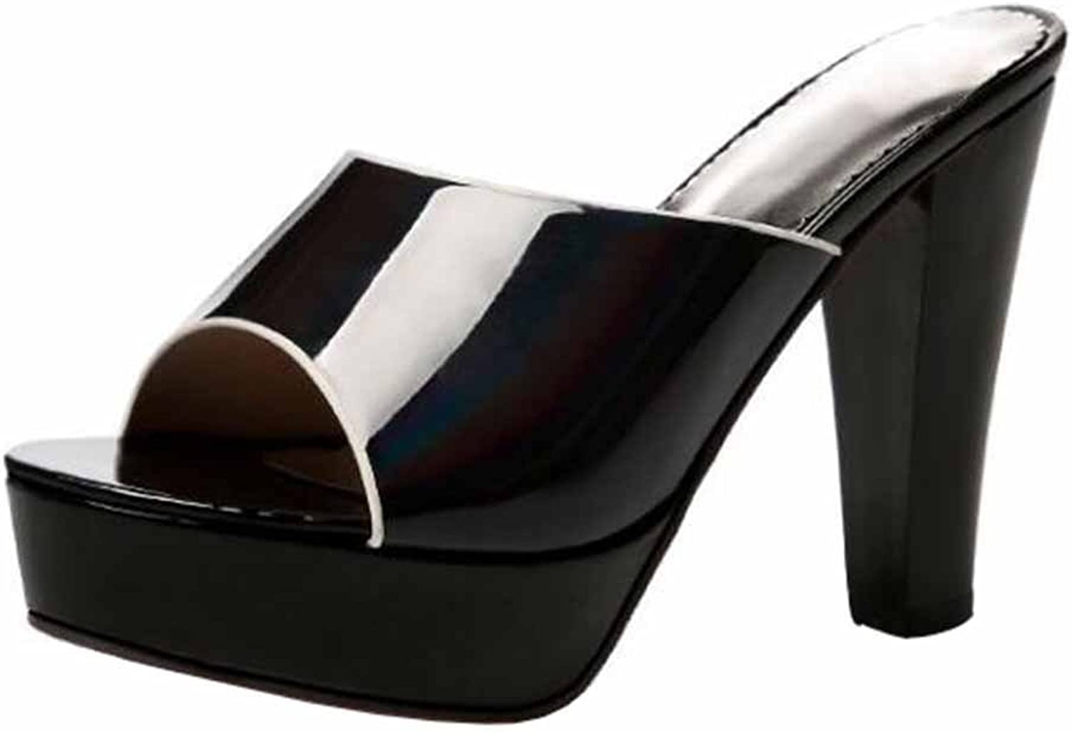 CHFSO Women's Trendy Peep Toe Platform Solid Patent Leather Slide Slippers Sandals