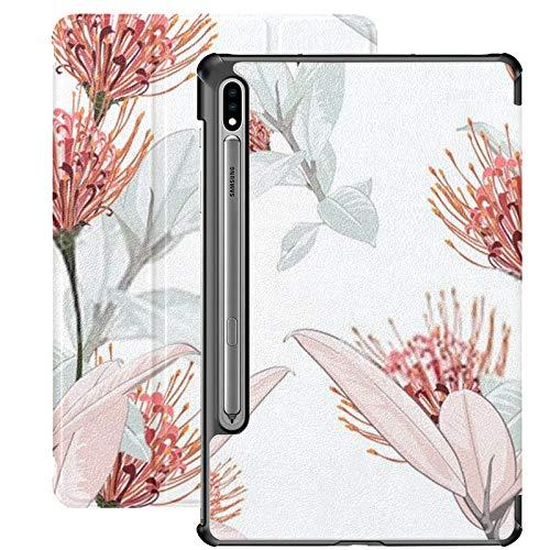 Funda Galaxy Tablet S7 Plus de 12,4 Pulgadas 2020 con Soporte para bolígrafo S, Flores Protea Tropicales sin Costuras Ficus Elastica Funda Protectora Tipo Folio con Soporte Delgado para Samsung