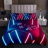 Gamepad Tagesdecke 170x210cm Licht elektrisch Steppdecke für Kinder Jungen Mädchen Blaue Fuchsie Weichste Bettwäsche Set Tagesdecke Bettbezug 2St