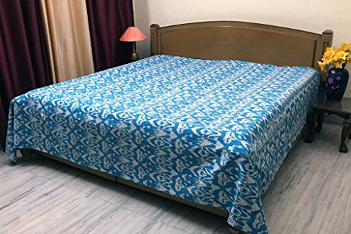Stylo Culture Colcha india Kantha tamaño doble turquesa étnica Ikat cosida a mano manta colcha colcha funda de cama