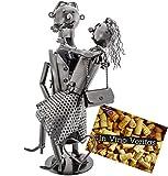 Brubaker Flaschenhalter Liebespaar Metall Skulptur mit Geschenkkarte