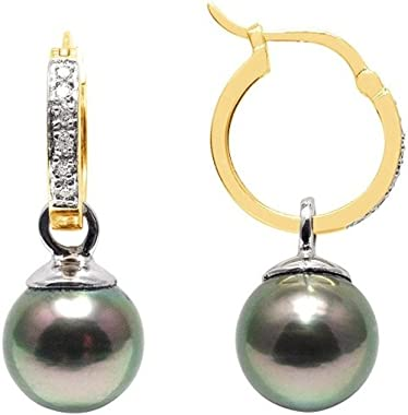 Boucles d'Oreilles Perles de Tahiti, Diamants et Or Jaune 750/1000
