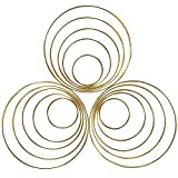 15 Pieces Metal Rings Hoops Macrame Ring for Dream Catchers and Crafts, 2 Inch, 3 Inch, 4 Inch, 5 Inch, 6 Inch (Gold)
