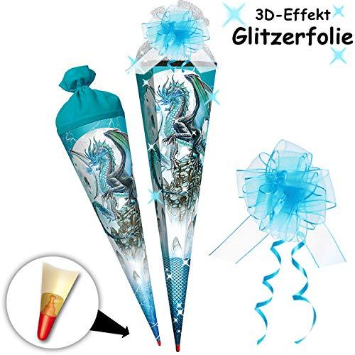 alles-meine.de GmbH mit _ 3D Effekt - Hologrammfolie ! - Schultüte - Drache / Eisdrache - 85 cm - mit Holzspitze - 6 eckig - incl. Schleife - Tüllabschluß - Zuckertüte - Roth - S..