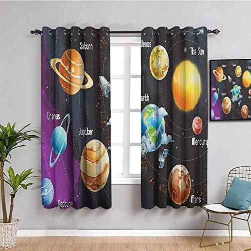JYDFC Cortinas opacas para dormitorio con ojales, impresión digital 3D, cortinas perforadas, para sala de estar, dormitorio, cocina, guardería, 150 x 150 cm, color planeta satélite nave espacial
