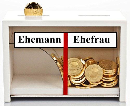 Geldgeschenke Hochzeit - Spardose Eheleute Weiß Holz - Geld rutscht Immer nur zur Ehefrau - lustige Hochzeitsgeschenke für Brautpaare