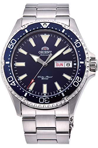 Orient RA-AA0002L Kamasu Herren-Armbanduhr, Edelstahl, blaue Lünette, blaues Zifferblatt, automatische Taucheruhr