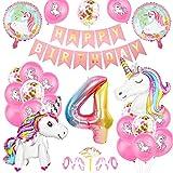 Unicornio Fiesta Decoración, Cumpleaños Globos 4, Decoración de cumpleaños 4 en Unicornio, Feliz cumpleaños Decoración Globos 4 Años, Unicornio de cumpleaños Ducha Bodas Festival Decoración