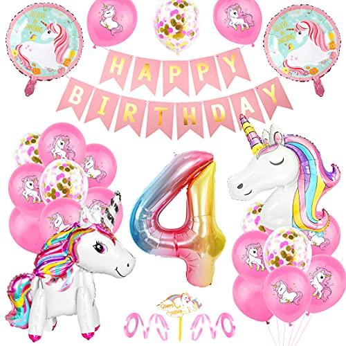 4 Unicorno Compleanno Decorazioni Ragazze, Palloncini Compleanno 4 Anno, Rosa Bianco 3D Palloncini Festa di Compleanno Unicorno Foil Numero 4, 4 Anno Decorazioni Compleanno