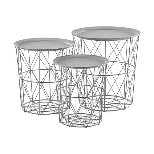 [en.casa] Bijzettafel metaal set van 3 lichtgrijs