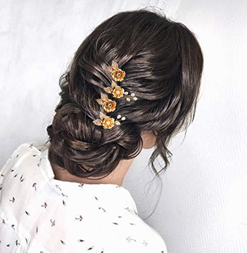Preisvergleich Produktbild Unicra Gold Hochzeit Blume Haarnadeln Perle Braut Kopfschmuck Hochzeit Haarteile Zubehör für die Braut (4er Pack)