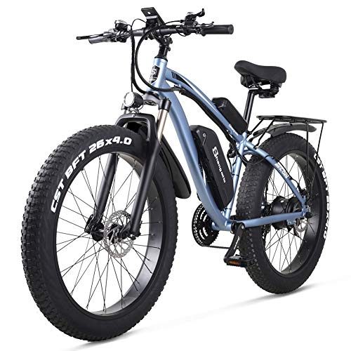 Sheng milo-MX02S 26 Inch Fat Tire Electric Bike 48V 1000W Motor Snow Electric Bicycle with Shimano 21 Speed Mountain Electric Bicycle Pedal Assist Lithium Battery Hydraulic Disc Brake (Blue)