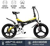 Lincjly 2020 actualizado G650 bicicleta eléctrica de 20 x 2,4 pulgadas de bicicletas de la ciudad de bicicletas de montaña eléctrica plegable for adultos 400w 48v 10.4ah batería de litio de 7 velocida