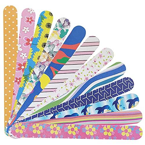 P2P Nails Tiras coloridas para limas de uñas – limas de doble cara para dar forma y suavizar las uñas de los pies y las uñas – manicura y pedicura – 12 unidades