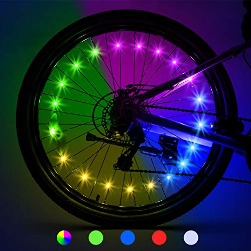LET'S GO! Bike Wheel Lights, Gifts for 5-15 Year Old Boys and Up Bike Spoke Lights Waterproof Bright Bicycle Light Strip Cycling Bicycle Decoration Easter Basket Stuffing 2-Tire Pack Multicolor