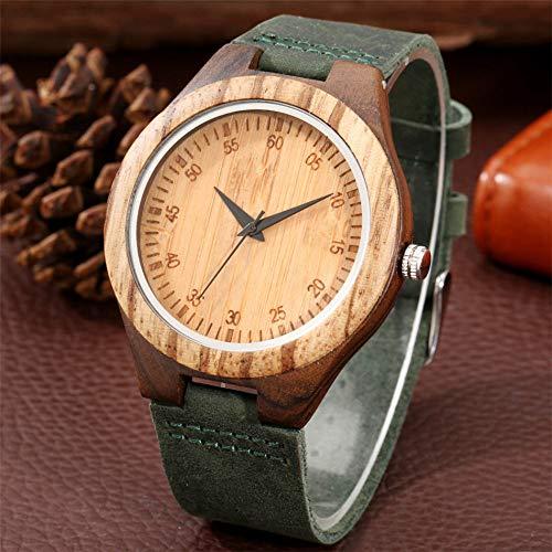 UIOXAIE Reloj de Madera Reloj de Cuero Genuino Verde de Moda, Reloj de Madera para Hombres, Pantalla de números árabes, Esfera Redonda, Reloj de Madera Natural para Hombre, Hebilla de
