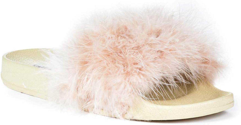 CAPE ROBBIN Womens Moira-2 Fur Sandals Nude