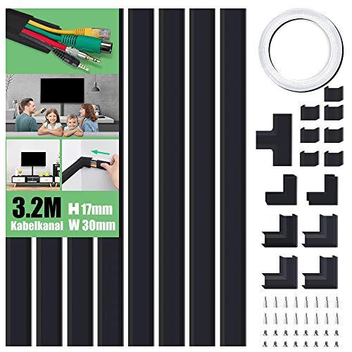 Kabelkanal Selbstklebend Weiss 320cm PVC Kabelabdeckung Kabelschacht zum verstecken von Kabel TV Kabelkanal fur alle Netzkabel in HaushaltBuro 8 Stuck x L40cmW3cmH17cm Schwarz