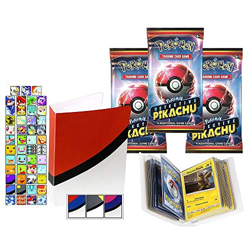 Totem World 3 Detective Pikachu Booster Pack Set With a Totem Mini Binder - Total 12 Pokemon Cards - Holo Rare Common or Uncommon TCG