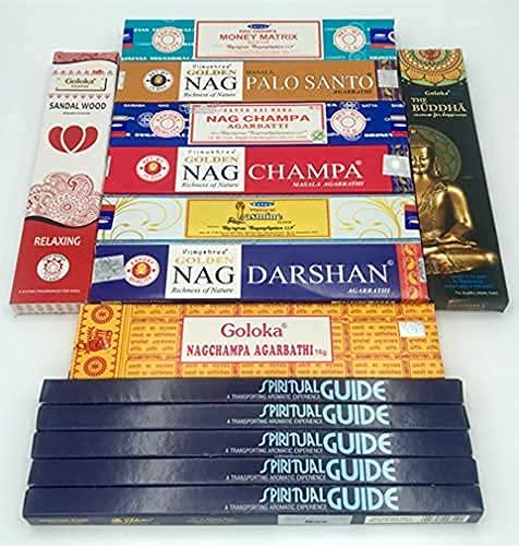 Set con Bastoncini d'Incenso Satya,Padmini,Goloka,Vijayshree Golden Nag,10 Fragranze,14 Confezioni,Perfetto per Yoga,Meditazione,Aromaterapia,Purificazione,Armonizzazione,Relax,Introspezione