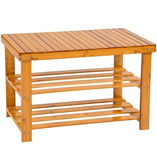 TecTake Estantería Zapatero de Madera bambú para Calzado - Varios Modelos - (70x28x45.5cm con Banco | No. 401650)