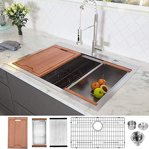 33 Drop in Workstation Kitchen Sink - Lordear 33 x 22 x 10 Drop in Topmount Stainless Steel 16 Gauge Ledge Workstation Deep Single Bowl Tight Radius Drop Kitchen Sink Basin