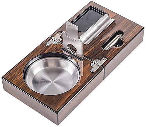 Cenicero de mesa plegable Sigaro con sigaro Cutter Puncher – Accesorios – Cenicero de mesa plegable de acero...