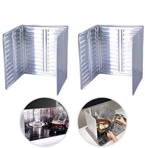 Protector de salpicaduras de aceite, 2 piezas de cocina antiadherente, protector de salpicaduras de aceite de aluminio para estufa de aceite, pantalla de cocina (33 x 12,7 cm)