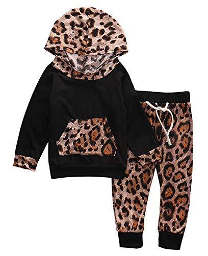 Hailouhai Herbst Winter Neugeborenen Baby Mädchen Nette Mit Kapuze Langarm Sweatshirt Outfits + Print Hose Stirnband Kleidung 2 Stücke Set (12-18 Monate, Schwarz#)