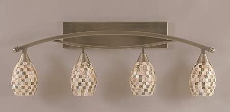 Bow 4 Light Bath Vanity Light Shade Color: Sea Haze Seashell, Finish: Brushed Nickel