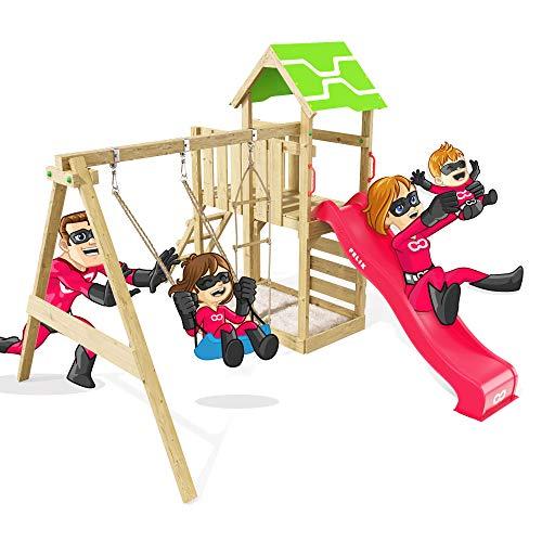 Spielturm Terrific Heroows Schaukelgestell mit Kletterleiter, Kletterwand, Schaukel & Rutsche