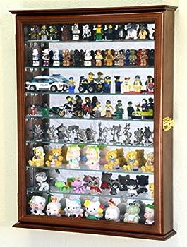sfDisplay.com,LLC Large Minifigures/Star Wars/Disney/Minature for Lego Men Figurines Display Case Cabinet w/Adjustable Shelves  Walnut Finish