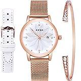 AVGI 腕時計 レディース 日付表示 防水機能 替えバンド付き (ゴールド+ホワイト+ブレス)