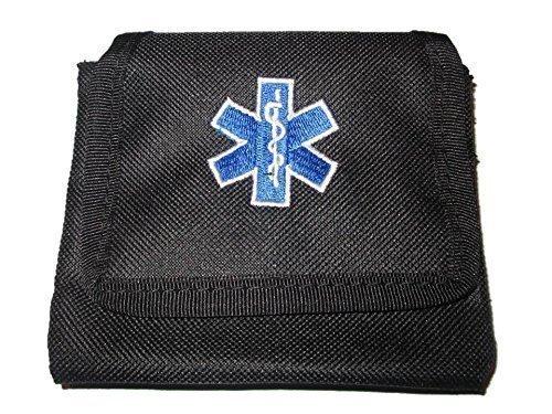 Schwarze Handschuhtasche mit gestickten Stern des Lebens Emblem