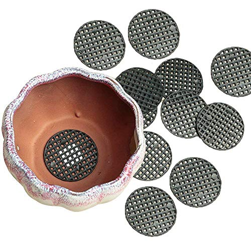 Chris.W 50Pcs Flower Pot Hole Mesh Pad - 4.5cm Diameter Bottom Grid Mat - Prevent Soil Loss Breathable Gasket - Drainage Netting for Bonsai