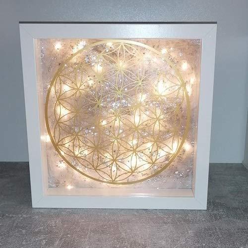 LIGHT BILDERRAHMEN mit LED Lichterkette Handarbeit als Deko Batterien betrieben. Blume des Lebens mit tollem Lichteffekt