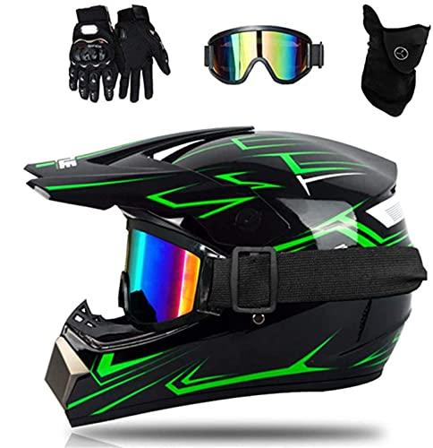 WAHA Casco De Motocross, para Adultos para Exteriores Casco De Bicicleta De Montaña con Gafas, Mascarilla, Guantes,Color Negro Y Verde,S