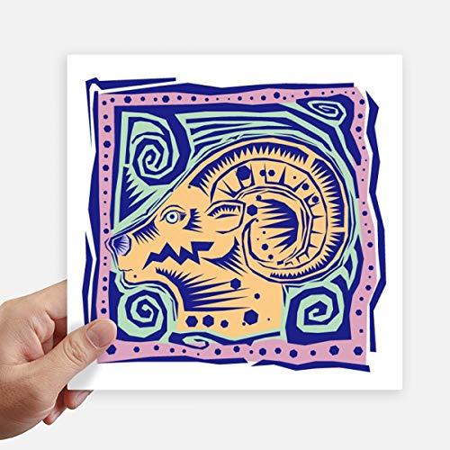 DIYthinker Constellation Capricornus Mexicon Gravure Autocollant carré de 20 cm Mur Valise pour Ordinateur Portable Motobike Decal 4Pcs 20Cm X 20Cm Multicolor